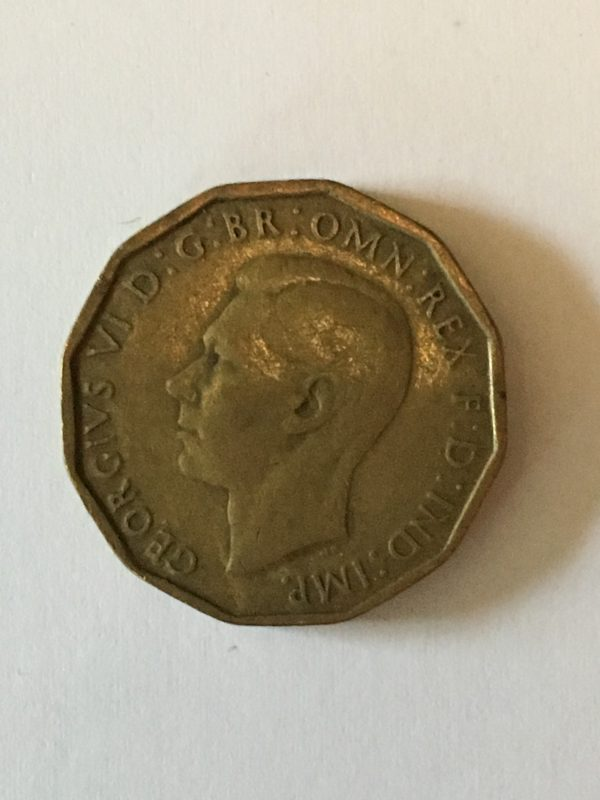 king george three penny  1943 collectable