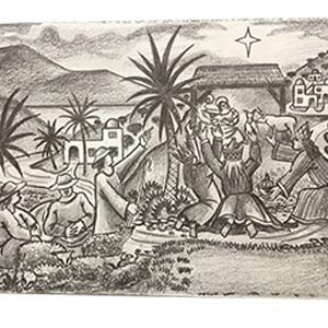 Cecil Riley pencil drawing Christmas scene 1st picture