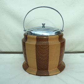 Banded Wooden Ice Bucket. Vintage Retro