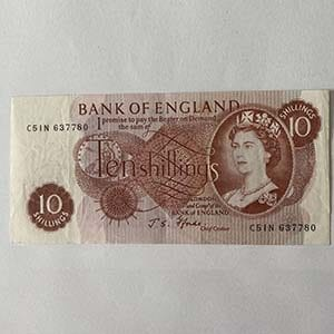 Ten Shilling Note Highly Collectable.Offset (misalignment)